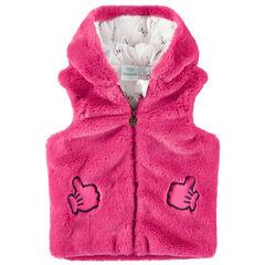 Chaleco con capucha de pelo falso rosa con Minnie Disney