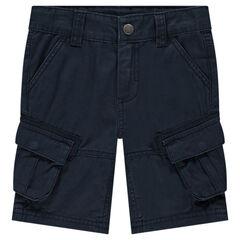 Bermudas de algodón teñido con bolsillos de tipo cargo