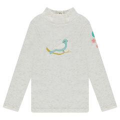 Camiseta interior de punto slub con hilo dorado y pájaro bordado