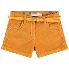 Pantalón corto de terciopelo liso con cinturón ajustable y desmontable