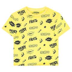 Camiseta de manga corta de punto con estampado de fantasía all over