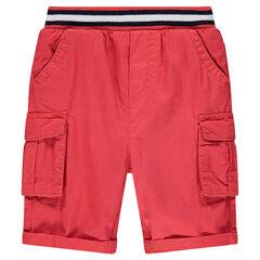Bermuda con bolsillos en la cintura de rayas con acanalado
