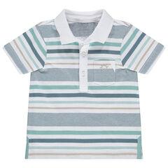 Polo de manga corta de algodón ecológico de rayas que contrastan y bolsillo