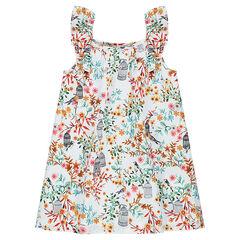 Vestido sin mangas de tejido de algodón con estampado de flores all over