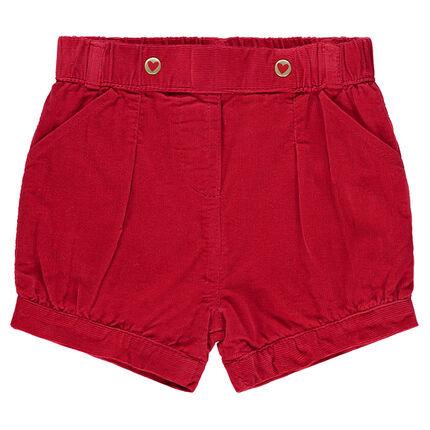 Pantalón corto de terciopelo milrayas con forma de bola con bolsillos