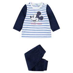 Pijama de terciopelo con rayas que contrastan y Mickey ©Disney bordado