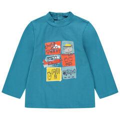 Camiseta con cuello chimenea y aviones estampados
