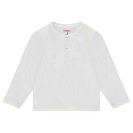 Camiseta de manga larga de punto liso con abertura en el cuello