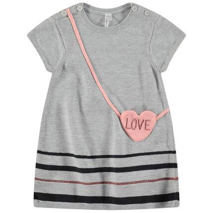Vestido de manga corta de punto con efecto bandolera con forma de corazón