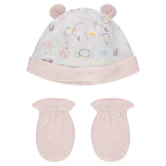 Conjunto para recién nacido con gorro y guantes lisos