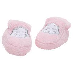 Zapatillas de borreguito con nube bordada con hilo plateado