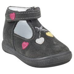Zapatos salomé de piel serraje aplicación con estampado corazón