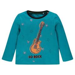 Camiseta manga larga con estampados con estrellas y guitarra