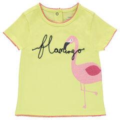 Camiseta de manga corta con estampado de flamenco rosa brillante