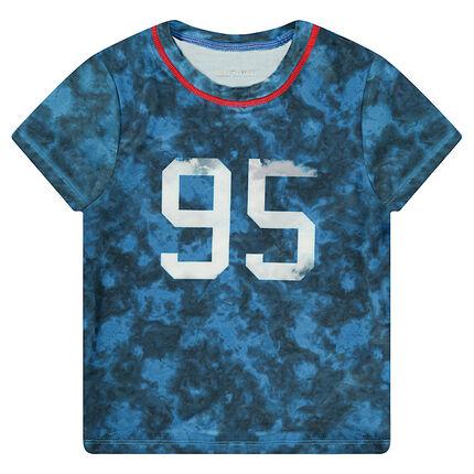 Camiseta de manga corta de efecto sobreteñido con número estampados por delante
