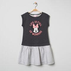 Vestido de manga corta bimaterial con estampado de Minnie y rayas