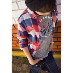 Júnior - Camisa de manga larga a cuadros con bolsillo