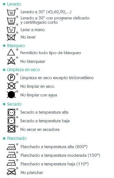 Símbolos de lavado y mantenimiento Ginetex explicaciones leyenda Orchestra